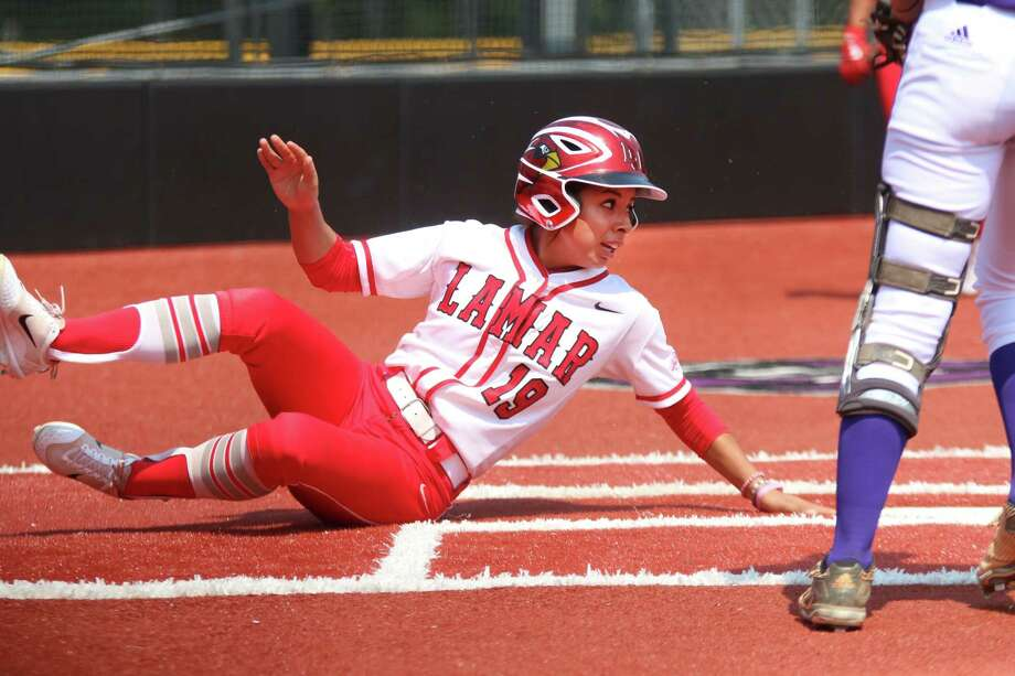 Lamar's Brittany Rodriguez slides into home during the Cardinals' 4-2 victory over Northwestern State in the opening game of the Southland Conference Softball Tournament on Wednesday in Conway, Arkansas. (Southland Conference) Photo: Southland Conference