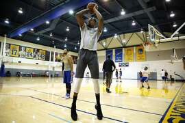 Golden State Warriors forward Kevin Durant (35) trains at the Warriors practice facility on Wednesday, May 10, 2017, in Oakland, Calif.