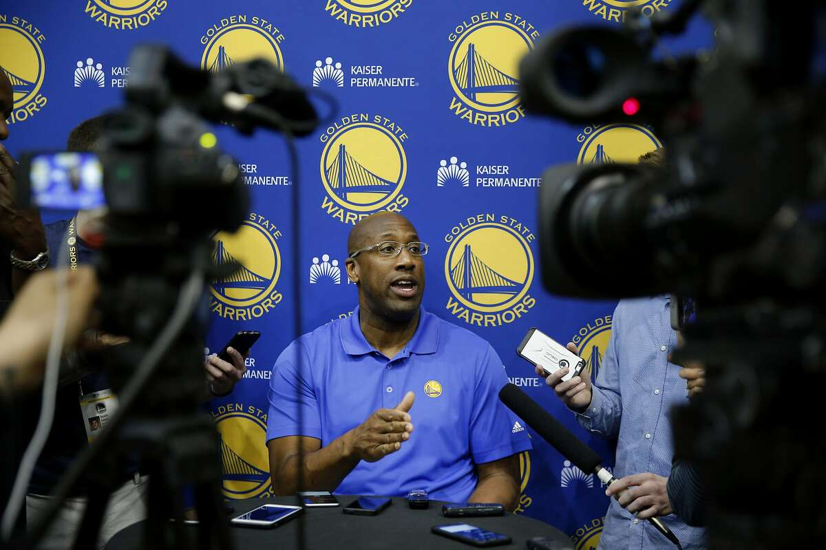 Golden State Warriors coach Mike Brown during a news conference at the Warriors practice facility on Wednesday, May 10, 2017, in Oakland, Calif.