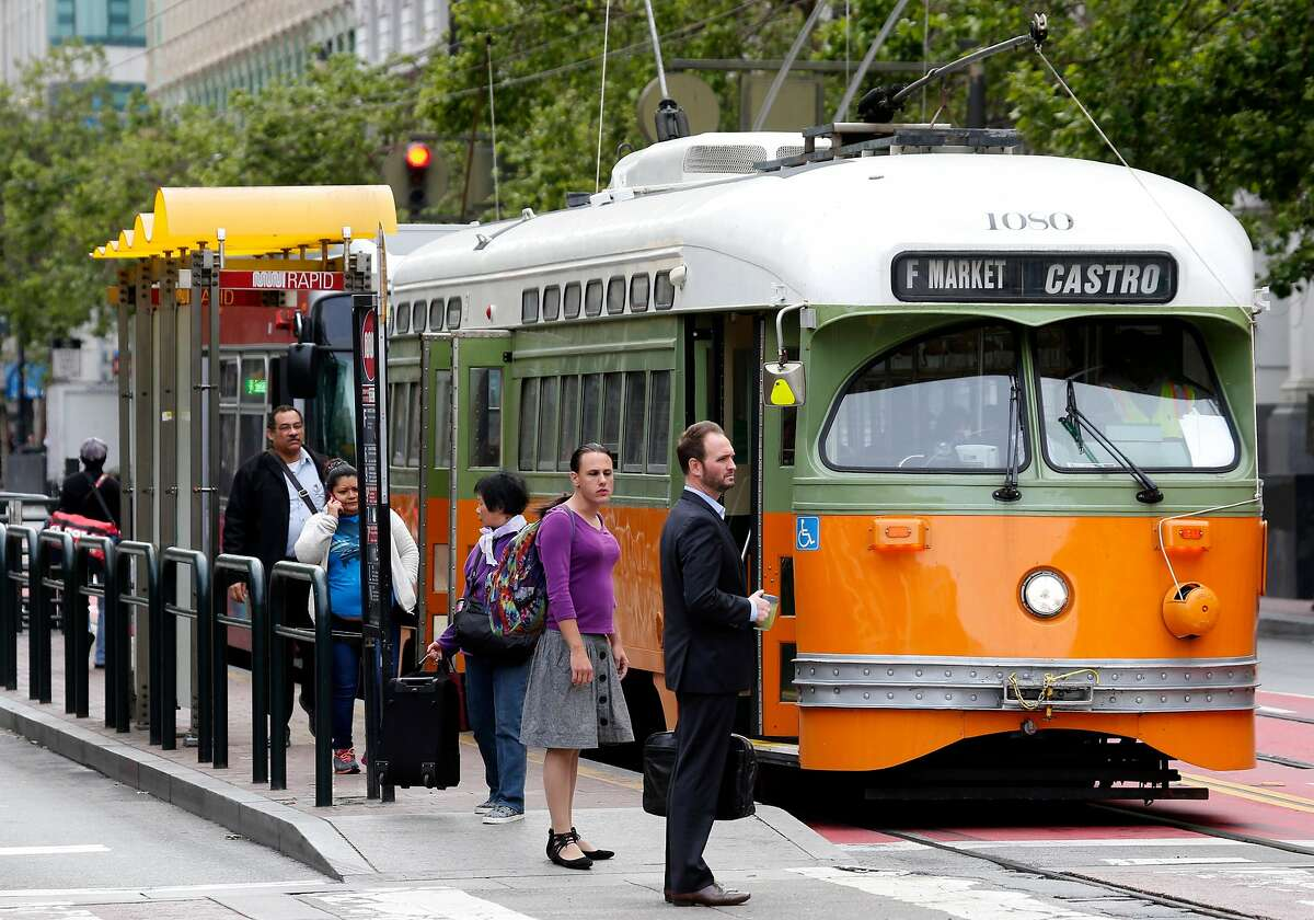 A Muni F-Market streetcar stops at Fifth and Market streets in San Francisco, Calif. on Wednesday, May 10, 2017.