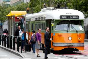 A Muni F-Market streetcar stops at Fifth and Market streets in San Francisco, Calif. on Wednesday, May 10, 2017. A biennial survey of San Francisco residents conducted by the city gives Muni an overall B- grade.