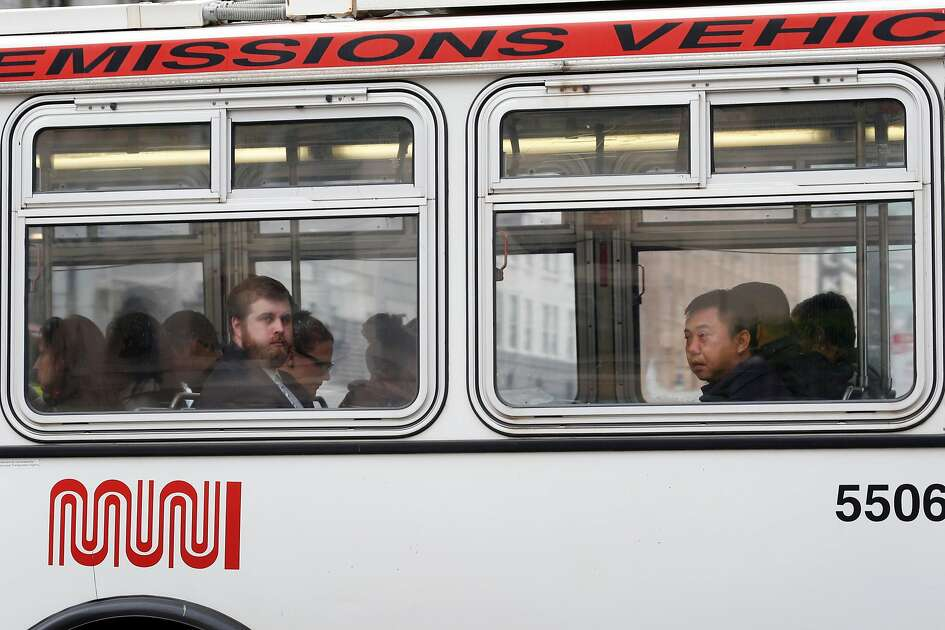 Commuters ride an inbound Muni bus on Market Street in San Francisco, Calif. on Wednesday, May 10, 2017. A biennial survey of San Francisco residents conducted by the city gives Muni an overall B- grade.