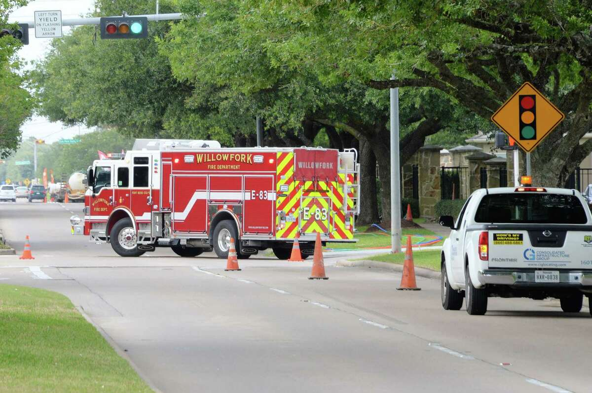Emergency crews shut down the northbound lanes of Mason Road between Cinco Ranch Boulevard and Noorthmoor Drive as a precautionary measure while a gas leak near the Camden Downs Apartments and Great Southwest Equestrian Center is repaired in Katy, TX on May 10, 2017.