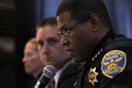 """( l to r) Captain Teresa Ewins, Commander Greg McEachern join San Francisco's Chief of Police William """"Bill"""" Scott as they hold a town hall, on Wednesday May 10, 2017, to discuss last week's fatal police shooting of a 26-year-old stabbing suspect along Market St. in downtown San Francisco, Ca."""