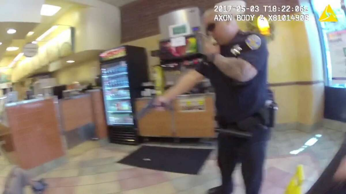 The San Francisco Police Department has released body-worn camera footage showing officer Kenneth Cha shooting Nicholas Flusche, 26, who attacked a worker at a Subway sandwich shop on Market St. in San Francisco on May 3, 2017.