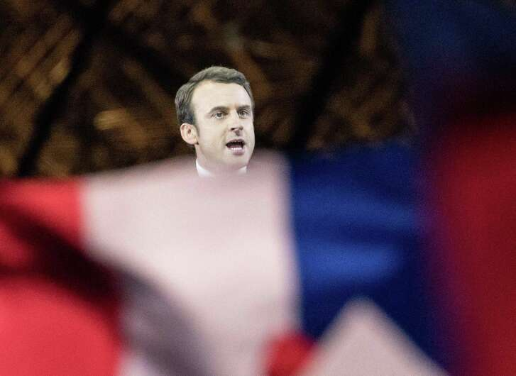 Emmanuel Macron delivers a speech Sunday as he was on his way to victory. As with the U.S. election, email leaks occurred, but the French media showed admirable restraint.