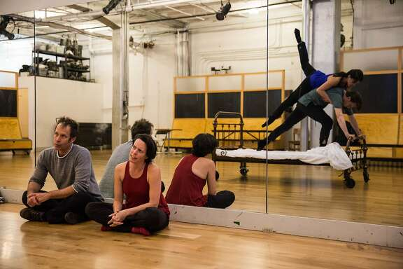 Creative Director Brian Staufenbiel and choreographer Amy Seiwert (seated) look on as Steffi Cheong and Brett Conway rehearse Opera Parall�le�s new production of Philip Glass� hybrid dance-opera Les Enfants Terribles, May 26-28, 2017, at the San Francisco Conservatory of Music. Photo: Nicholas Korkos.
