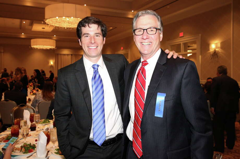 Carter Stern, left, and Stephen Costello pose for a photo at the Family Houston luncheon at The Briar Club on May 10. Stern, the head of Houston Bike Share, is leaving to work for ofo, a dockless bike sharing company Photo: Yi-Chin Lee, Houston Chronicle / © 2017  Houston Chronicle