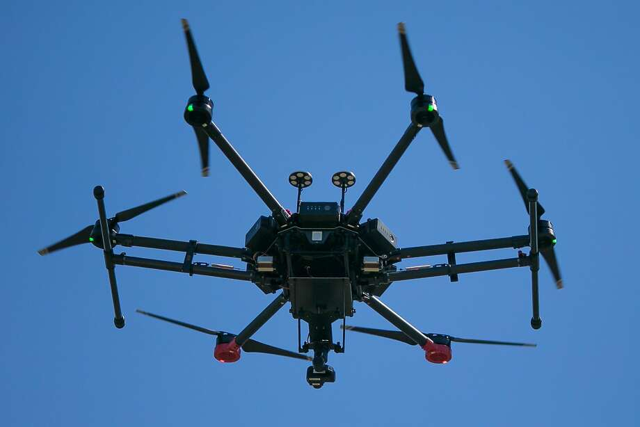 Menlo Park Fire Protection District uses a drone outfitted with an infrared camera during a search and rescue training exercise at SLAC National Accelerator Laboratory in Menlo Park, Calif. Friday, May 5, 2017. Photo: Mason Trinca, Special To The Chronicle