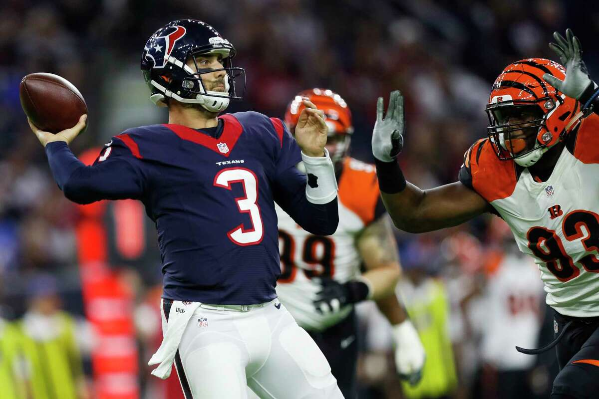 Even though they traded two first-round picks to move up and draft Deshaun Watson, Tom Savage (3) has been tabbed the Texans' starting quarterback despite not throwing a touchdown pass in five games over three seasons.