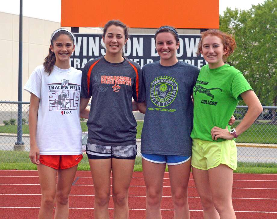 Members of the 3,200-meter relay for the Edwardsville girls' track and field team are, from left to right, freshman Abby Korak, sophomore Maddie Miller, junior Lorie Cashdollar and senior Victoria Vegher.