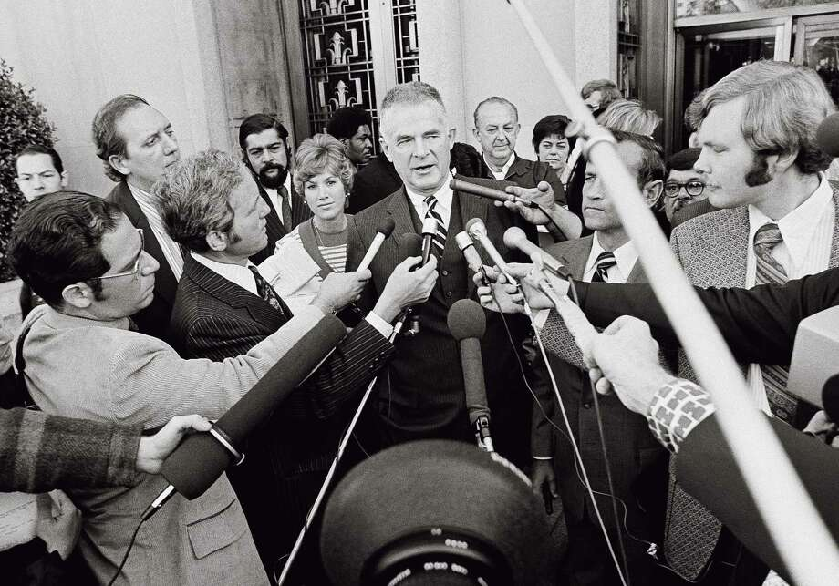 Reporters surround special prosecutor Archibald Cox, who was investigating Watergate and fired by President Richard Nixon in an episode known as the Saturday night massacre. Photo: John Duricka / John Duricka / Associated Press 1973 / 1973 AP