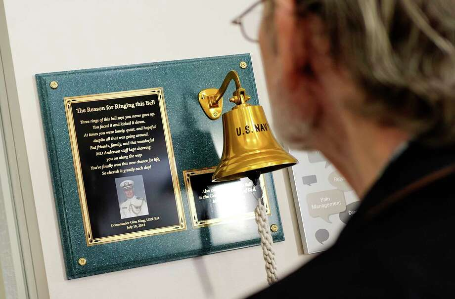 Cancer patience at MD Anderson ring a bell singling their last day of treatment on Thursday, March 30, 2017, in Houston. The tradition of ringing the bell, which has spread across the country, started at the hospital. Photo: Elizabeth Conley, Houston Chronicle / © 2017 Houston Chronicle