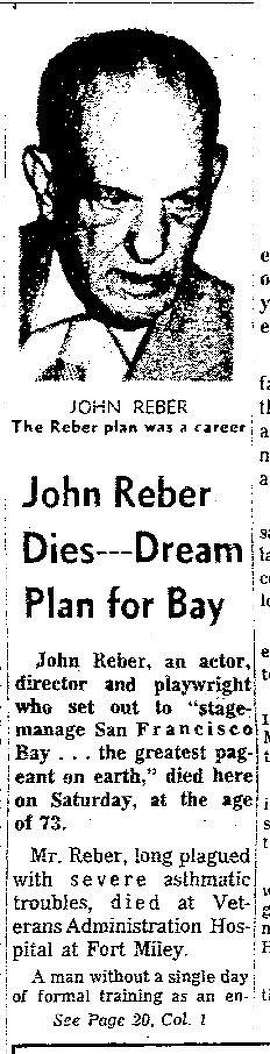 San Francisco Chronicle article dated 10/17/1960, on the death of John Reber. The Reber Plan was developed by John Reber, an actor, producer and teacher, with no formal engineering train training