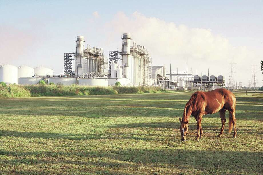 A horse grazes near Calpine's Brazos Valley Power Plant in Richmond, Texas. The company has a fleet of natural gas fired plants and is uniquely suited to take advantage of the demands for cleaner-burning electricity generation. Photo: Calpine / © Jim Olive, 2008
