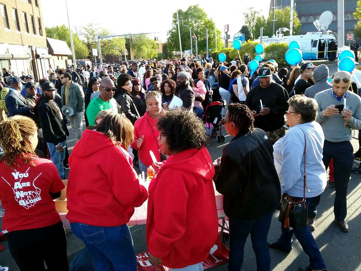 In the wake of the fatal police-involved shooting in Bridgeport, Conn. Tuesday night, a rally was held at the Fairfield Avenue scene on Wednesday, May 10, 2017.