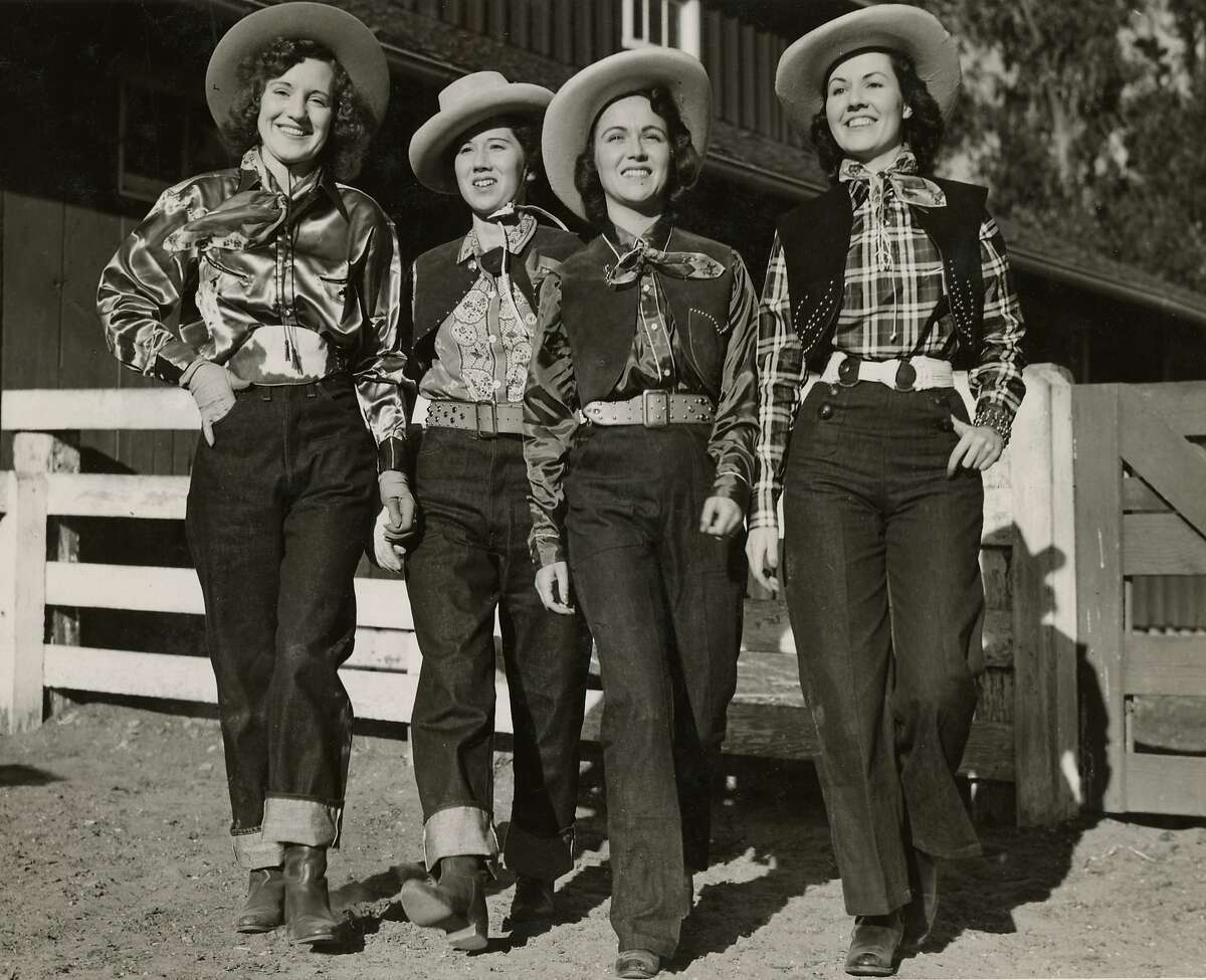 """Levi's introduced their first blue jeans for women in 1934 and dubbed them """"Lady Levi's."""" To distinguish the working women's pants from the original 501s for men, they were given the lot number 701. As vacationing on dude ranches became a travel fad in the 1930s, fashion-forward women sported head-to-toe Western wear Stetson cowboy hats, silk scarves and cuffed jeans. """"It was the first time we're seeing jeans worn as fashion instead of work pants,"""" said Panek."""
