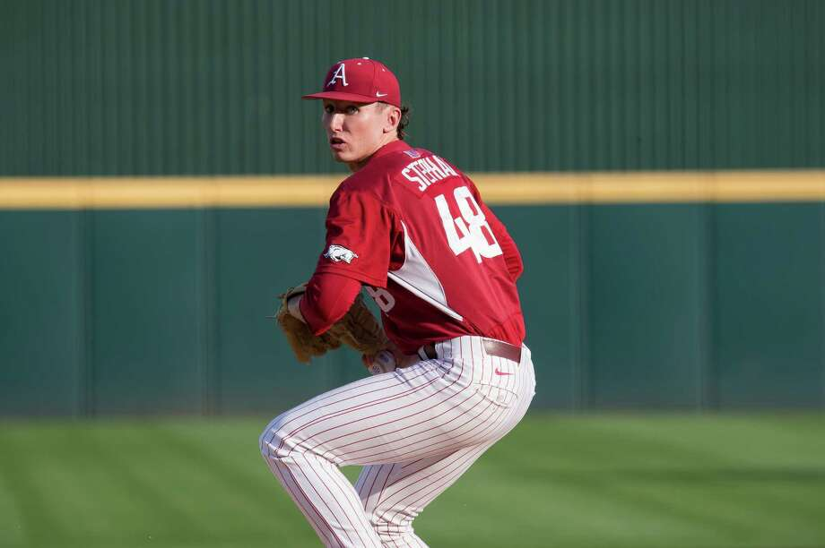 Arkansas pitcher and former Magnolia West Mustang Trevor Stephan was recently selected as SEC Pitcher of the Week. Photo: Arkansas Sports Information / Copyright_Walt Beazley