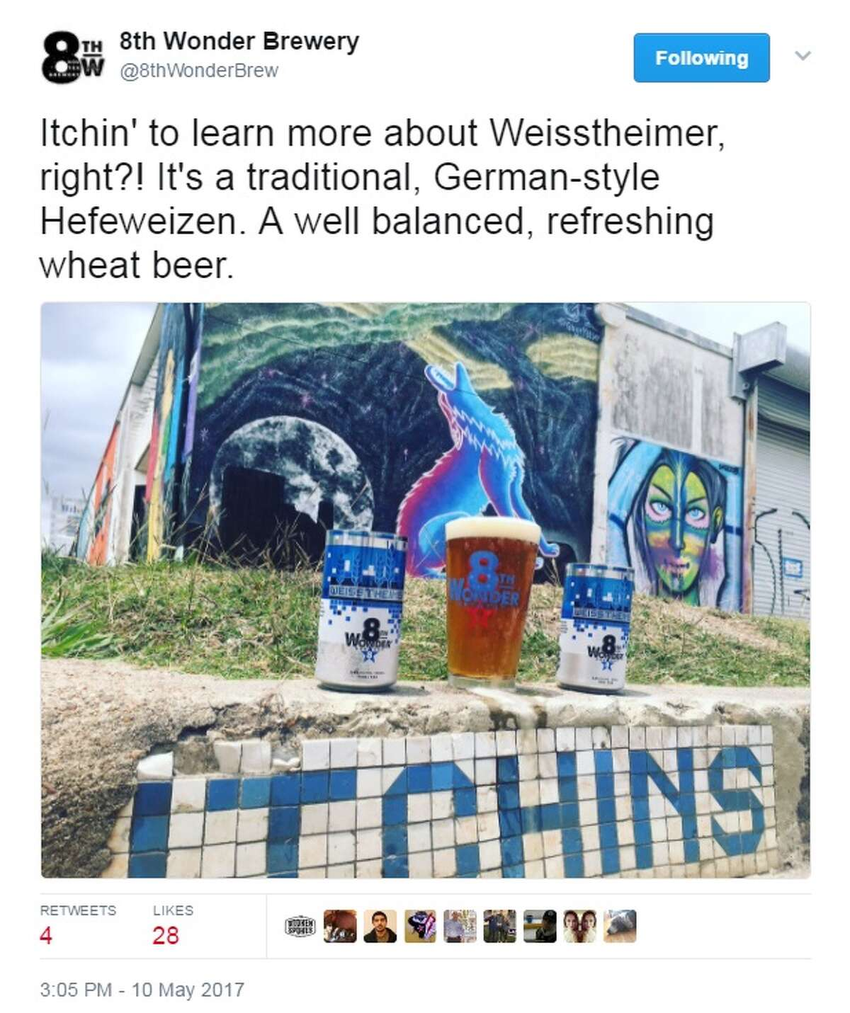 8th Wonder Brewery is re-releasing its Weisstheimer Hefeweizen beer in May 2017. Image source: Twitter Keep clicking to see what some of the most sought-after craft beers in Texas are.