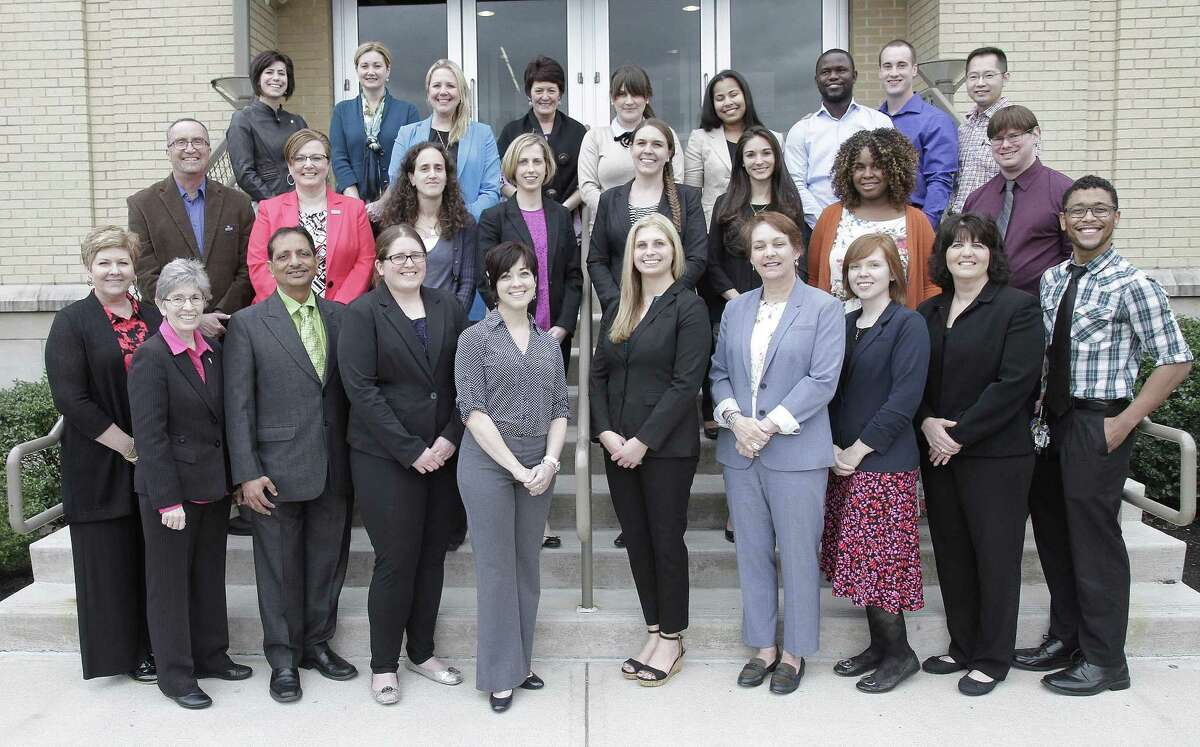 Misericordia University students in the weekend occupational therapy masters degree program recently received their pins and presented their capstone research at the annual Graduate Research Presentation Conference. Bridgewater resident Gerardina Menza-Bogdanovic was among the students recognized. The honors were presented at the annual Graduate Research Presentation Conference in Sandy and Marlene Insalaco Hall on campus. Mentored closely by faculty advisors, the collaborative research projects are a requirement of the occupational therapy masters degree curriculum. Students began their projects more than 18 months ago. Participating in the program are, from left to right, in front, Dr. Dawn Evans, Dr. Gwen Bartolacci, Dr. Lalit Shah, Laura Bradley of Honey Brook, Penn., Melanie Beck of Whitehall, Pa., Jacqueline Brocious of Plains, Pa., Dominique Lemire-Ross of Dallas, Pa., Rebecca Hewit-Pickel of Hummelstown, Pa., Terri Bugelholl of West Pittston, Pa., and Wilfredo Dones of Blakeslee, Pa.; second row, Dr. Joseph Cipriani, Dr. Lori Charney, Gerardina Menza-Bogdanovic of Bridgewater, Kaitlyn Ryan of Ellington City, Lyndsey McGrevy of Jim Thorpe, Pa., Kaitlyn Dillow of Hollywood, Md., Naromie Petit-Frere of Columbia, Md., and Lee Ungaretta of Dublin, Pa.; and third row, Dr. Orley Templeton, Kathleen Hughes-Butcher, Dr. Jennifer Dessoye, Dr, Grace Fisher, Magdalena Rooney of Phoenixville, Pa., Amy Kingsley of Allentown, Pa., John Bruce of Bronx, N.Y., Trevor Behler of Slatington, Pa., and Eric Win of Cherry Hill, N.J.