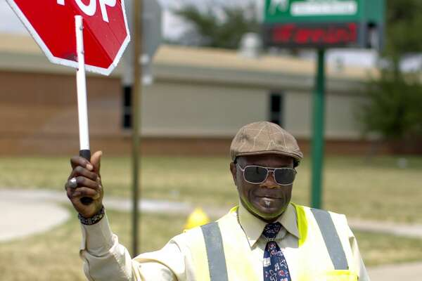 Curtis Joiner, a crossing guard at Fannin Elementary School, photographed May 9, 2017. James Durbin/Reporter-Telegram