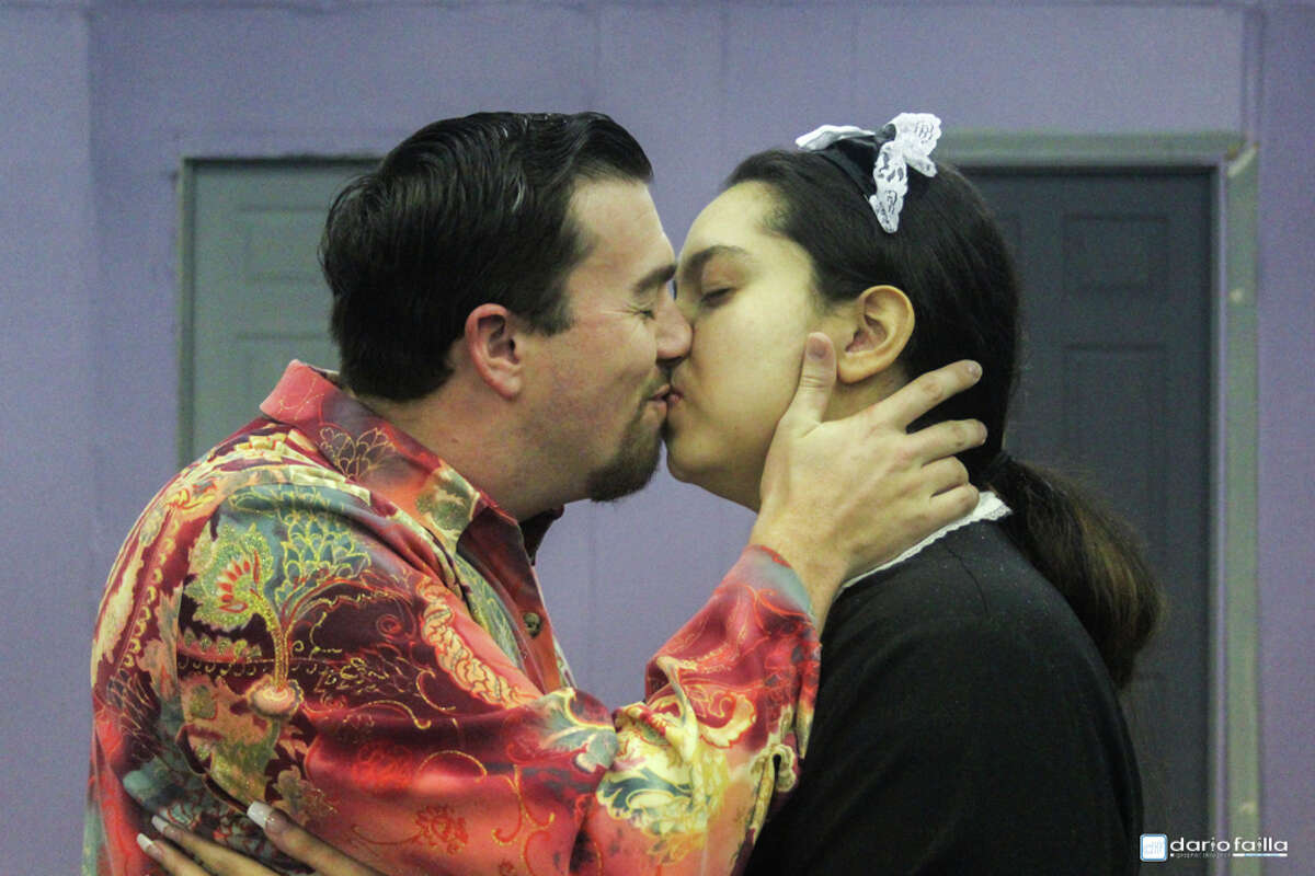 This smooch might be one of the few times cast members in Pasadena Little Theatre's production of