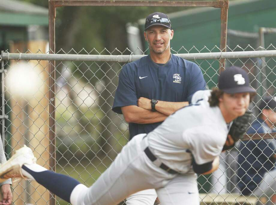 Houston pitching coach Andy Petite  watches Zach Heaton warm-up.San Antonio Christian hosts Houston Second Baptist in Game 1 of a TAPPS Division II regional final playoff series. Second Baptist is coached by former MLB players Andy Petite and Lance Berkman, and Nolan RyanÕs grandson, Jackson, pitches for the Eagles on Wednesday, May 10,2017. Photo: Ron Cortes, Freelance / For The San Antonio Express-News / Ronald Cortes / Freelance