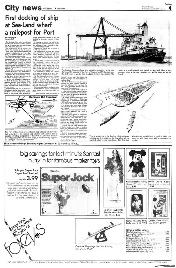 Houston Chronicle inside page - December 17, 1978 - section 4, page 1. First docking of ship at Sea-Land wharf a milepost for Port (of Houston) Photo: HC Staff / Houston Chronicle