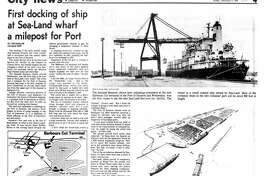 Houston Chronicle inside page - December 17, 1978 - section 4, page 1. First docking of ship at Sea-Land wharf a milepost for Port (of Houston)