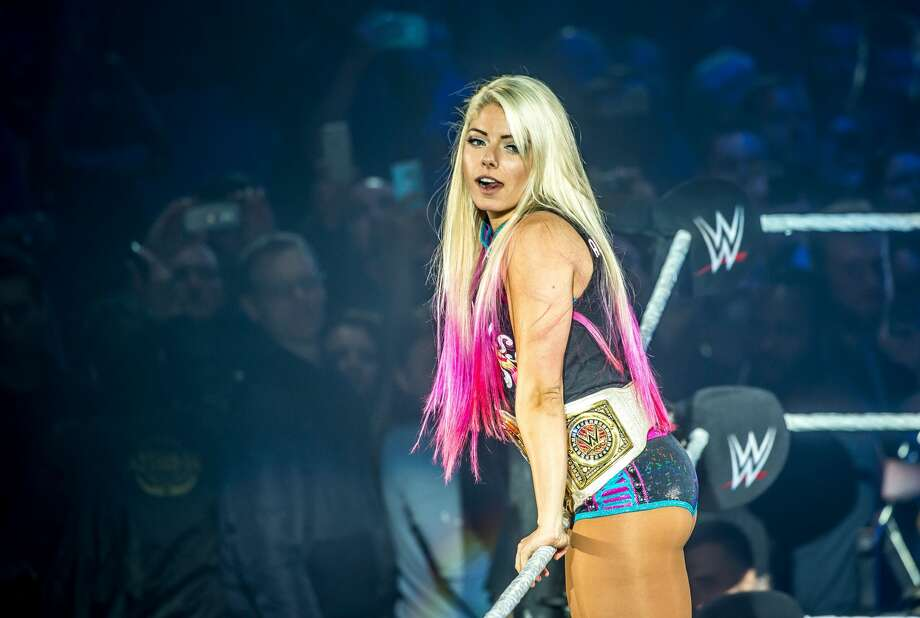 Superstar Alexa Bliss gestures in the ring during the WWE show at Zenith Arena on May 9, 2017 in Lille, France. Click through this gallery to see the list of highest-paid WWE superstars. Photo: PHILIPPE HUGUEN/AFP/Getty Images