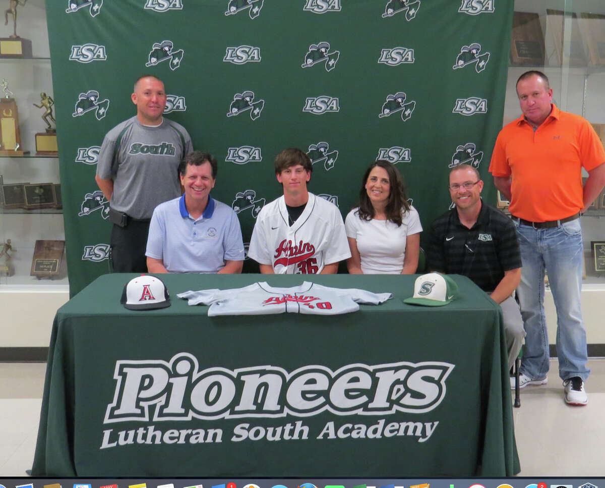 Michael Smith of Lutheran South Academy has signed a baseball letter of intent to play for Alvin Community College. Smith is shown with his parents, Miek and Theresa, along with coaches A.J. Bettcher, Aaron Schneider and Darrin Forse.