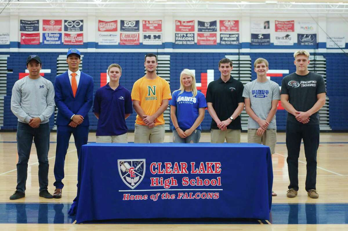Clear Lake High School athletes (left to right) signing national letters of intent are Cristian Sandoval (football, Millsaps College), Dawson Guillory (track, University of Florida), Nathan Zahn (golf, Mary Hardin Baylor), Garrison Gandy (baseball, Napa Valley College), Maddie Wolken (softball, Our Lady of the Lake University), Matthew Churchman (water polo, Santa Clara University), Chris Norlin (diving, U.S. Merchant Marine Academy) and Jan Schlegel (swimming, University of the Pacific).