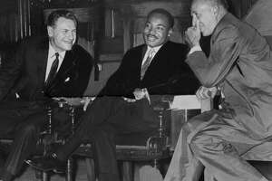Gov. Nelson Rockefeller, left, Martin Luther King Jr., center, and Mayor Erastus Corning II, right, meet at the Capitol June 17, 1961, in Albany, N.Y. (Times Union archive)