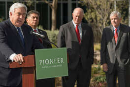 Pioneer Natural Resources President and COO Tim Dove, far left, with Mayor Jerry Morales, Sen. Kel Seliger and Rep. Tom Craddick in December announced an agreement between Pioneer and the city to make upgrades to Midland's wastewater treatment plant and receive water from the plant to use in drilling operations. The Senate unanimously approved the deal on Thursday; the House approved it in March.