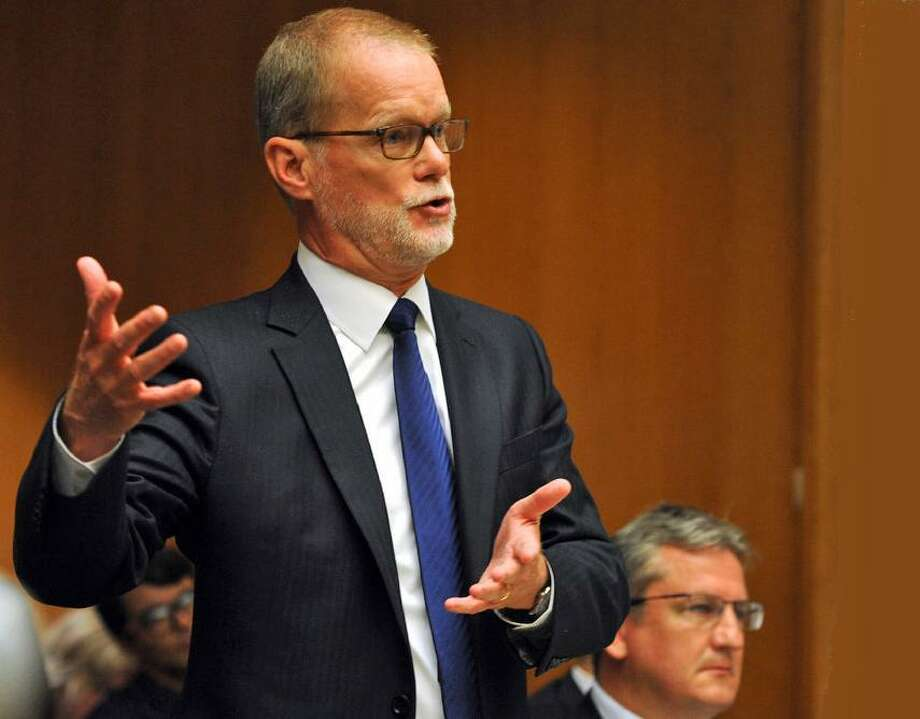 James Vogts one of the defense attorneys for Remington, in Superior Court in 2016. The wrongful death lawsuit against Remington brought by 10 families of Sandy Hook victims was dismissed in October. The case is being appealed in state Supreme Court. Photo: / Ned Gerard