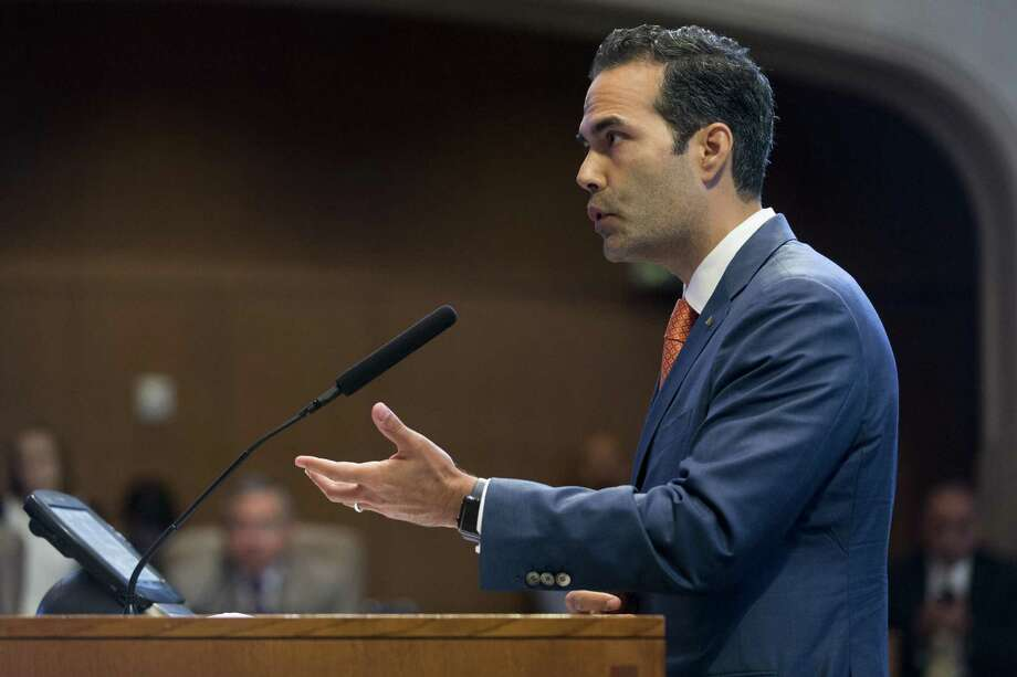 Texas Land Commissioner George P. Bush speaks to the San Antonio City Council about the Alamo master plan in May. Photo: William Luther /San Antonio Express-News / © 2017 San Antonio Express-News