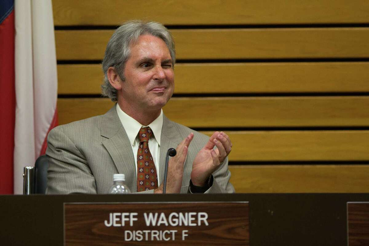 City council member Jeff Wagner claps during a Pasadena City Council meeting, Tuesday, April 18, 2017, in Pasadena. (Mark Mulligan / Houston Chronicle)