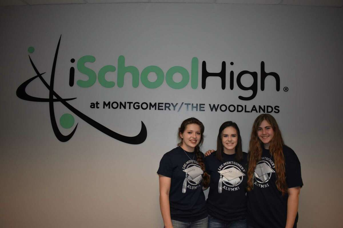 Briana Franklin, Kaitlyn McKinney and Bethany Presswood are graduating with their associates degree at Lone Star College before graduating high school from charter school, iSchool.
