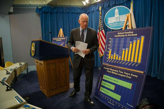 California Governor Jerry Brown announces his May revise to the 2017-18 budget during a press conference at the State Capitol in Sacramento, Calif. on Thursday, May 11, 2017.