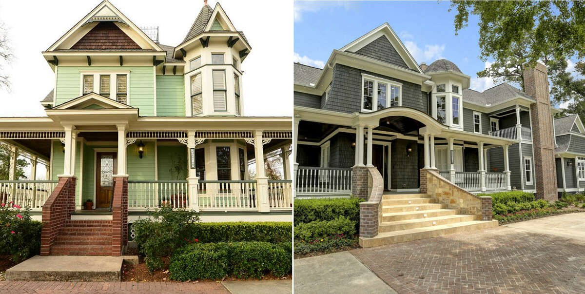 A 2001 Victorian home is nearly unrecognizable after it gets an entire face lift and design overhaul. The former four bedroom home went from 2,994 square feet up to 6,041 square feet by the end of the construction. The photo above shows before and after the renovation.