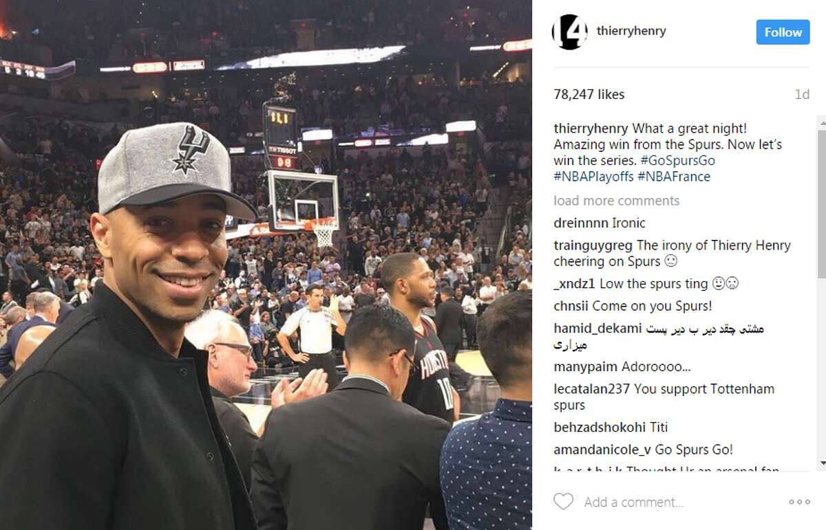 Soccer star Thierry Henry @thierryhenry: What a great night! Amazing win from the Spurs. Now let's win the series. #GoSpursGo #NBAPlayoffs #NBAFrance