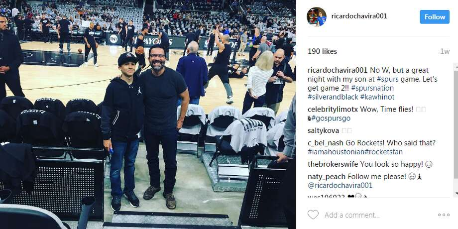 Ricardo ChaviraOne look at the Desperate Housewive star's Twitter or Instagram pages shows he is a true Spurs fan.@ricardochavira001: No W, but a great night with my son at #spurs game. Let's get game 2!! #spursnation #silverandblack #kawhinot Photo: Twitter.com, Instagram.com