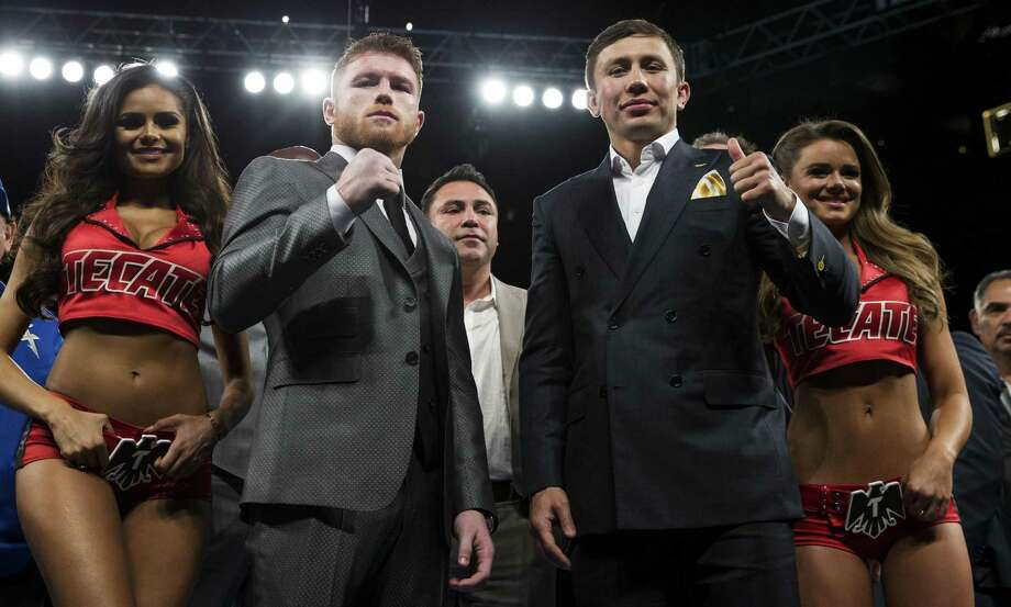 Canelo Alvarez (left) and Gennady Golovkin pose onMay 6, 2017, in Las Vegas. The two boxing fighters will fight Sept. 16. Photo: Erik Verduzco /Associated Press / Las Vegas Review-Journal