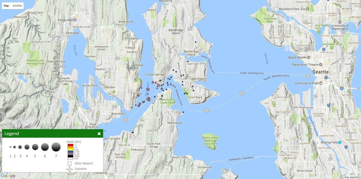 A map of Seattle-area earthquakes since May 4, 2017.