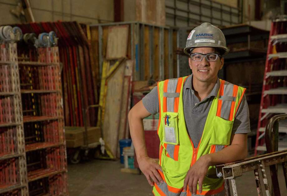 Jaime Ramos, a 30-year-old construction foreman, chose to come work at Marek Bros. because the company offered training in skills that have helped him advance. Photo: Yi-Chin Lee, Staff / © 2017  Houston Chronicle