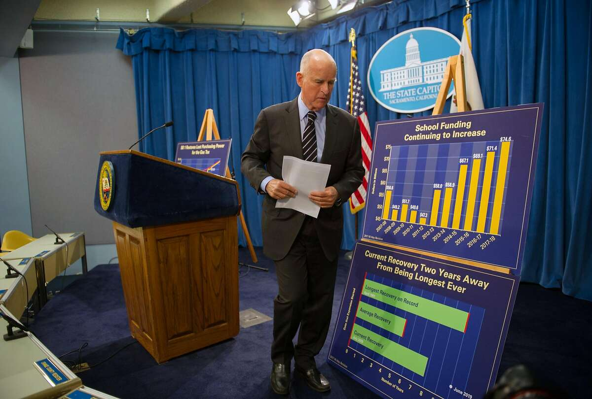 California Governor Jerry Brown announces his May revise to the 2017-18 budget during a press conference at the State Capitol in Sacramento on Thursday, May 11, 2017.