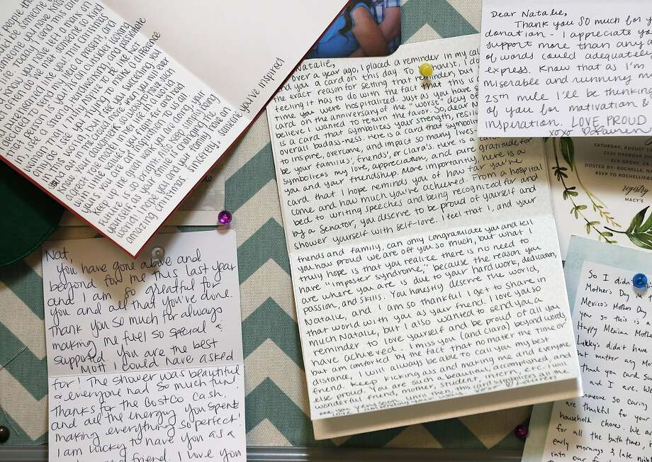 Natalie Ruiz keeps hand-written inspirational letters and cards from her family, friends and anonymous admirers pinned to a board in her University Village apartment in Albany, Calif. on Thursday, May 11, 2017. Ruiz will be be giving a commencement speech to her graduating UC Berkeley sociology department class on Sunday. Photo: Paul Chinn, The Chronicle