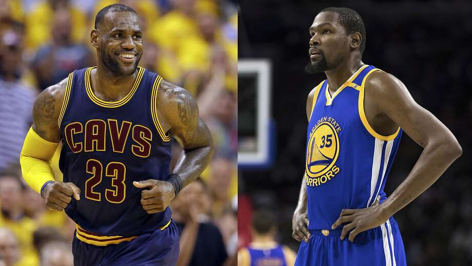 Cleveland Cavaliers forward LeBron James (left) and Golden State Warriors' Kevin Durant. For the first time in NBA history, the same teams will meet for a third consecutive Finals.  Photo: Associated Press