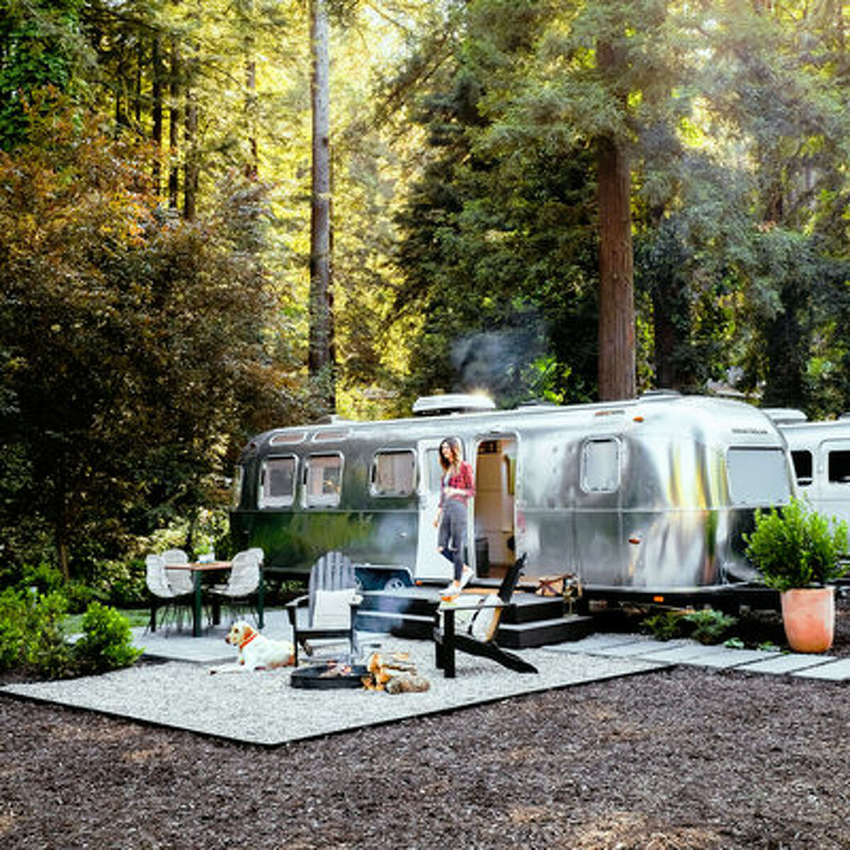 AutoCamp Russian River, Guerneville, CA Who said you can't camp and enjoy the California wine country at the same time? Autocamp (Airstream from $200/night, luxury tent from $175/night) has both sleek custom Airstreams and canvas tents fit for even the most hesitant camper. You'll sleep easy on a plush queen-sized Casper mattress and comfy sheets. The firepit and deck are perfect for relaxing with a glass of wine.