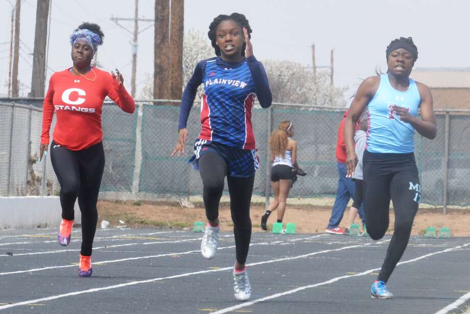 Plainview's Kaizha Roberts, center, shown leading the 100-meter dash in a meet earlier this season, will compete at the UIL Class 5A State Track and Field Championships for the fourth consecutive year. She will run the 100-meter dash, which is scheduled to start at approximately 7:15 p.m. Friday.